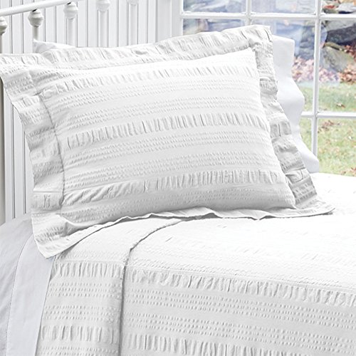 Orvis Solid Seersucker Bedspread/Only Queen, White, (Sheets Seersucker Bed)