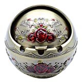 TOWOMO Vintage Cigar Ashtray with Lid, Red Rose Pattern-Antique Brass