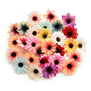 Fake flower heads in bulk wholesale for Crafts Silk Sunflower Daisy Handmake Artificial Flower Head Wedding Decoration DIY Wreath Gift Box Scrapbooking Craft Home Decor 80pcs 5.5cm (Colorful) 85