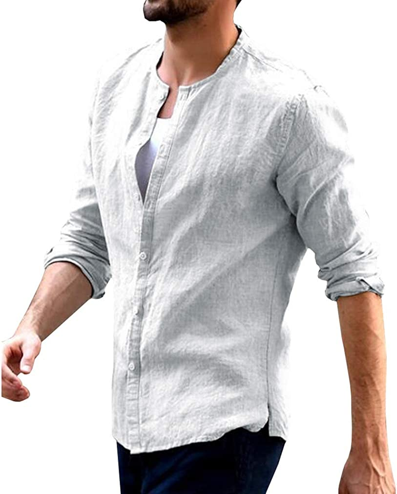 YYear Mens Long Sleeve Solid Color Casual Loose Fit Button Up Dress Shirt