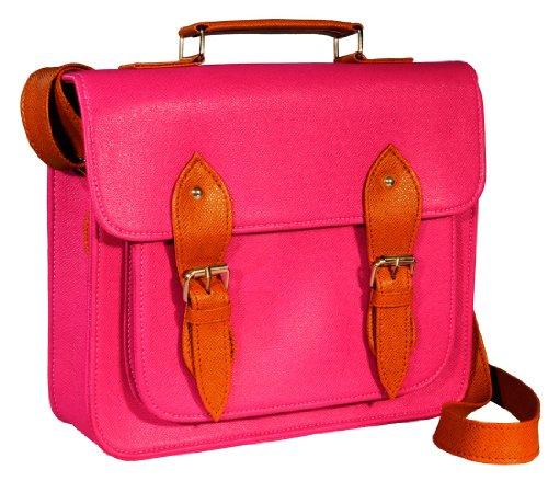 # gb0001p # bolso mano Vintage Satchel Bag piel sintética hombro bolso en rosa