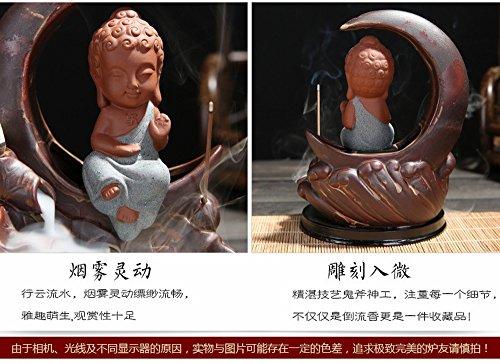 Backflow Incense Burner Buddha monk and Moon Ceramic Censer for Home Decor Tea ceremony