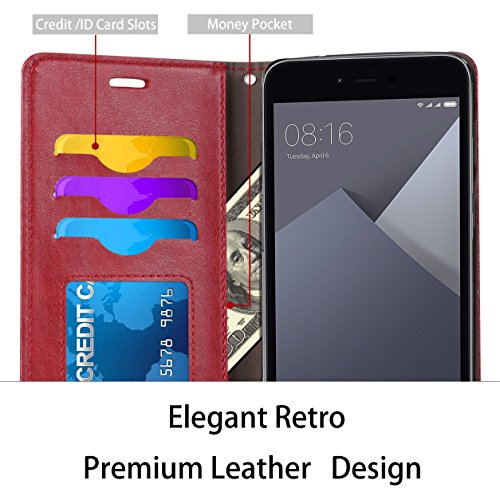 Funda Xiaomi Mi 5X / Xiaomi Mi A1, Ferlinso Carcasa Cuero Retro Elegante con ID Tarjeta de Crédito Tragamonedas Soporte de Flip Cover Estuche de cierre magnético para Xiaomi Mi 5X / Xiaomi Mi A1 (Oro  Rojo