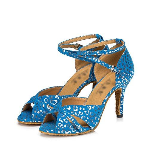 Alti Molle Ballo Da Sociale Interni Scarpe Inferiore Latino Ballo Wymname Scarpe Tacchi Blu Womens Sandali Stampati Da x8tqREYw