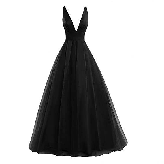 KA Beauty Womens Sexy V-Neck A-Line Backless Prom Dresses Evening Gown Black