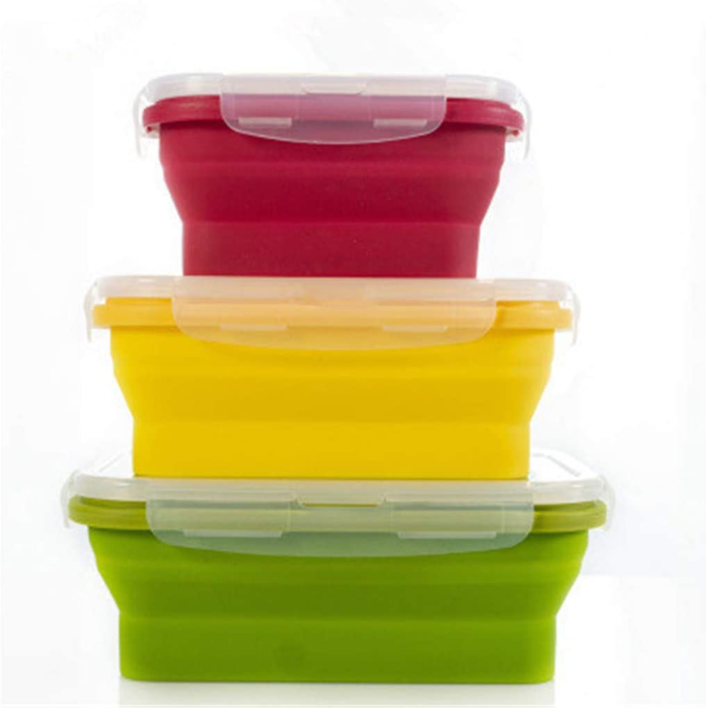 Silicone Lunch Box Set of 3 Collapsible Food Storage Containers with BPA Free Airtight Plastic Lids,Kitchen Microwave Freezer and Dishwasher Safe Kids,for kitchen refrigerator Camping Hiking School