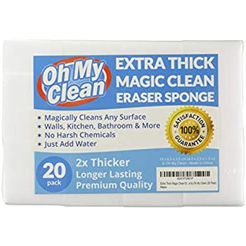 (20 Pack) Extra Large Eraser Sponge - Extra Thick, Long Lasting, Premium Melamine Sponges in Bulk - Multi Surface Power Scrubber Foam Cleaning Pads - Bathtub, Floor, Baseboard, Bathroom, Wall Cleaner
