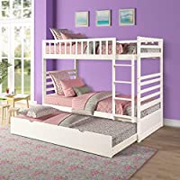 Merax Wood Bunk Bed with Trundle and End Ladder