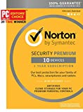 Symantec Norton Security Premium – 10 Devices – 1 Year Subscription - Product Key Card - 2019 Ready