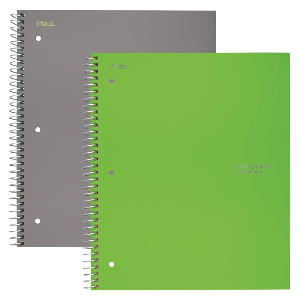 Five Star Spiral Notebooks, 1 Subject, Wide Ruled Paper, 100 Sheets, 10-1/2'' x 8'', Gray, Lime, 2 Pack (38426)