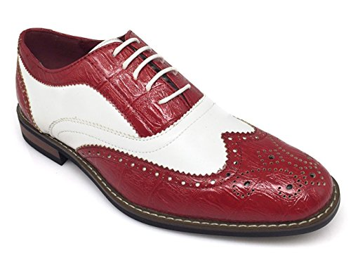 G4U-Parrazo AC3D Men's Oxfords Shoes Wing Tip Lace up Two-Tone Alligator Print Leather Lined Brogue Casual Classic Dress, Black/White/Blue (9 D(M) US, Wine/White) (Leather Print Synthetic)