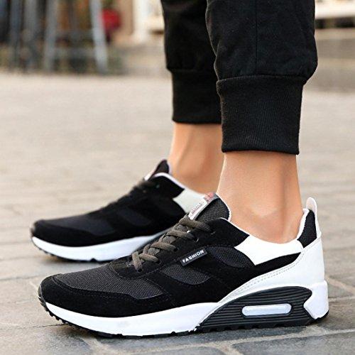 LHWY Herren Sneaker Lässig Travel Flat Rutschfest Schuhe Fashion Low Ankle Lace-up Schwarz Sportschuhe Weiß