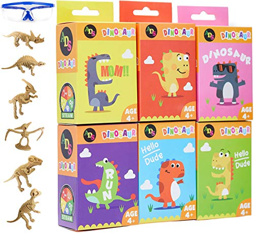 ADS Ultimate 6 Dinosaur Science Kit–Dig Up Dino Fossils and Assemble Skeleton Set! - Each Includes 3 Pieces Dig Kits