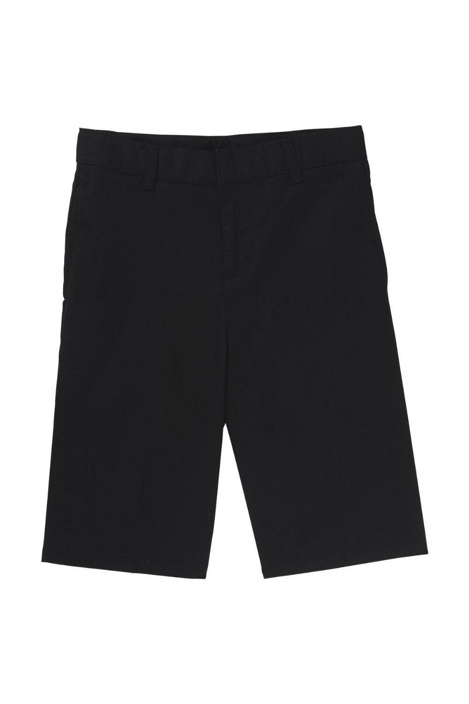 French Toast Big Boys' Basic Flat Front Short with Adjustable Waist, Black, 8