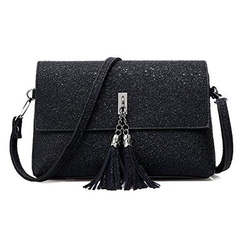 Gabrine Womens Evening Shoulder Bag Handbag Clutch Shining Sequins Tassel Pendant(Black) by Gabrine