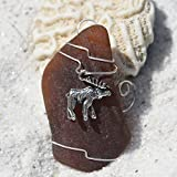 Custom Surf Tumbled Sea Glass Ornament with a Silver Moose Charm - Choose Your Color Sea Glass Frosted, Green, and Brown.