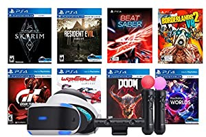 Playstation VR 8 Must-Play AAA Games Deluxe Bundle: PSVR Headset with Motion Controllers, Skyrim VR, Borderlands 2 VR, Beat Saber, Doom VFR, Resident Evil, Gran Tourism Sport, Wipeout and VR Worlds