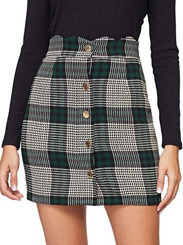 WDIRARA Women's Casual Plaid High Waist Button Closure A-line Mini Short Skirt Green S
