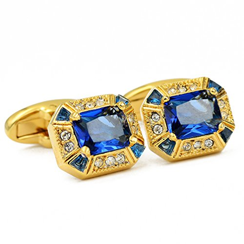 - ENVIDIA Blue Luxury Crystal Gold Tuxedo Shirts Cufflinks Wedding Party Gifts with Box