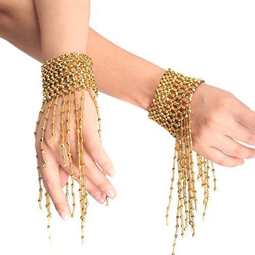 Ewandastore Belly Dance Tassel Wrist Ankle Arm Cuffs Bracelets Wristband Gypsy Jewelry,Halloween Costume Accessory(Gold) -