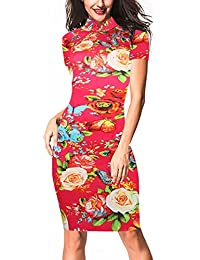 Women's Vintage Floral Flare Stretch Stand Collar Casual Work Pencil Dress OX183
