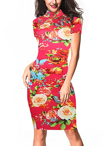 oxiuly Women's Retro Print Stretch Short Sleeve Stand Collar Pencil Dress OX183 (L, Red) (Chinese Dress Traditional)