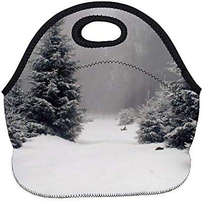 happygoluck1y bos land bedekt met sneeuw neopreen lunchtassen herbruikbare mode lunch tote tas lunchdozen school lunchtas voor vrouwen voor werk kinderen meisjes jongens volwassenen