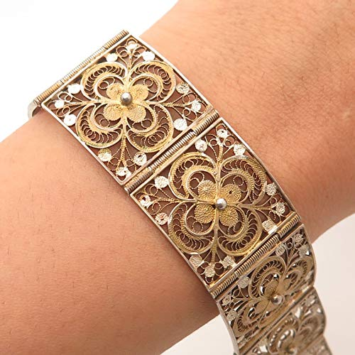 Antq Italy 800 Silver Gold Plated Filigree Link Bracelet 7