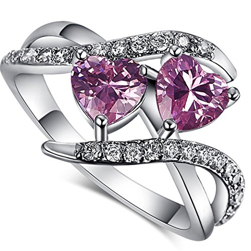 Narica Women's Elegant 6mmx6mm Double Heart Shaped Pink Topaz Twist CZ Ring Band