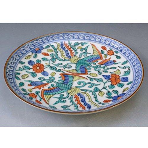 Kiyomizu-kyo yaki ware. Japanese small plate chinese phoenix with paper box. Porcelain. kymz-PCH79701