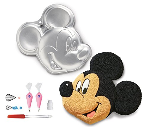 Wilton Mickey Mouse Mold Clubhouse Cake Pan Bundle of 6 Items: Mickey Mouse Cake Pan, Decorating Tips 3 & 16 and Coupler, Disposable Cake Decorating Bags and FREE Icing Spatula