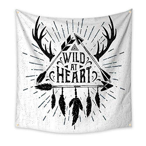Antler Decor Bedroom Tapestry Wild at Heart Text Triangle with Ethnic Arrow Native American Design Room Tapestry Black Grey White 55W x 55L Inch