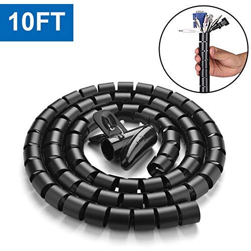 10FT Cable Management Sleeve Cord Bundler 0.8