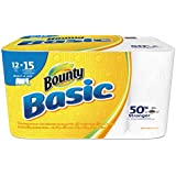 """Bounty 92972 Basic Select-A-Size Paper Towels, 5 9/10"""" x 11"""", 1-Ply, White (Pack of 12)"""