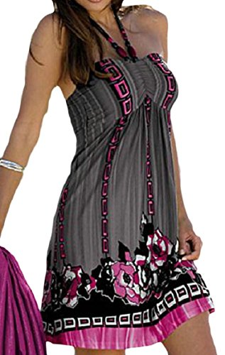 Winwinus Women's Backless Print Halter Tube Top Draped Mid and Maxi Dress Grey - Draped Tube Top