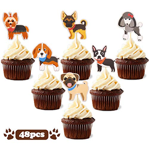 Puppy Cupcake Toppers Dog Adoption Pet Birthday Party Cake Decoration Supplies 48pcs