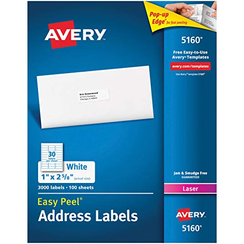 Avery AVE05160 Easy Peel Address Labels, Permanent Adhesive, 1