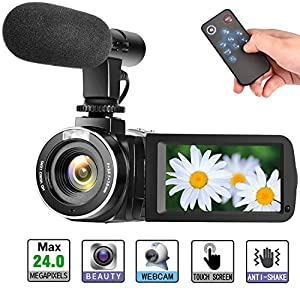 "Camcorder Digital Video Camera, Digital Camera Full HD 1080P 30FPS 3"" LCD Touch Screen Vlogging Camera with External Microphone and Remote Control"