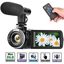 Camcorder Digital Video Camera Full HD 1080P 30FPS Vlogging Camera with External Microphone and Remote Control (M9D)