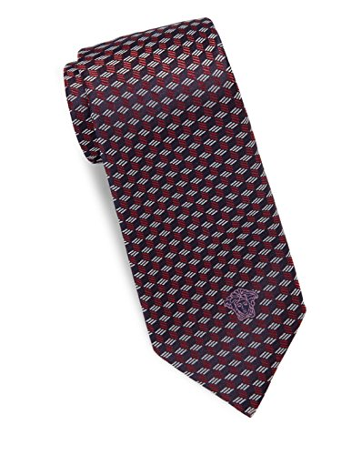 Versace Men's Cube Print Italian Silk Tie, OS (Red) by Versace
