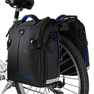 BV Bike Panniers Bags (Pair), Large Capacity, 14 L (each pannier), Black with Detachable Shoulder Straps and All Weather Rain Covers (Blue)