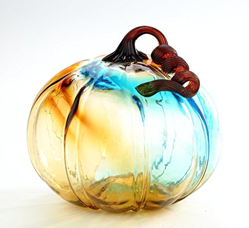 New Large 10 Hand Blown Glass Murano Art Style Pumpkin Sculpture Fall Blue Amber Multicolor