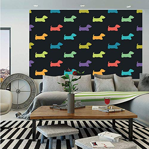 - SoSung Dog Lover Wall Mural,Colorful Dog Silhouettes West Highland Terriers Canine Cartoon Style Animal Fun,Self-Adhesive Large Wallpaper for Home Decor 83x120 inches,Multicolor