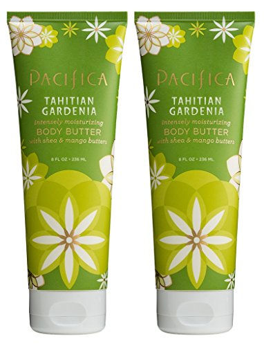 (Pacifica Tahitian Gardenia Body Butter (Pack of 2) with Shea Butter, Jojoba Seed Oil, Cocoa Butter, Flax Seed Oil, Kukui Nut Oil and Vitamin E, 100% Vegan and Cruelty-Free, 8 oz)