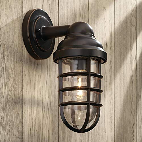 Marlowe Industrial Farmhouse Outdoor Wall Light Fixture Bronze 13 1/4 Caged Clear Glass Up Down for Exterior House Porch Patio Deck Barn - John Timberland
