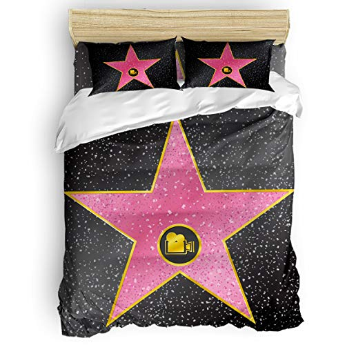 Popstar Party 4 Piece Bedding Set Comforter Cover Duvet Cover Set King Size, Hollywood Walk Fame Symbol Celebrity Entertainment Culture, Bedspread Daybed with Zipper Closure with 2 Pillow Sham Cases ()
