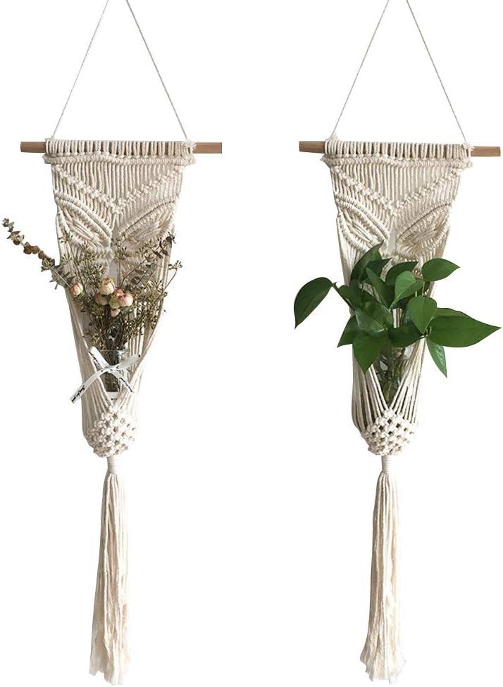2 Pack Macrame Plant Hangers Indoor Flower Pot Holder Rope Hanging Planter Basket for Bohemian Wall Home Decor