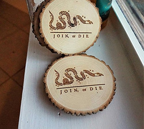 Amazoncom Join Or Die Handcrafted Natural Wood Slice Coaster Set