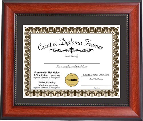 - CreativePF [mh930-b] 11x14-inch Eco-Mahogany Beaded Lip Collection Diploma Frame with Black Mat Holds 8.5x11-inch Media, with Installed Hangers for Either Orientation