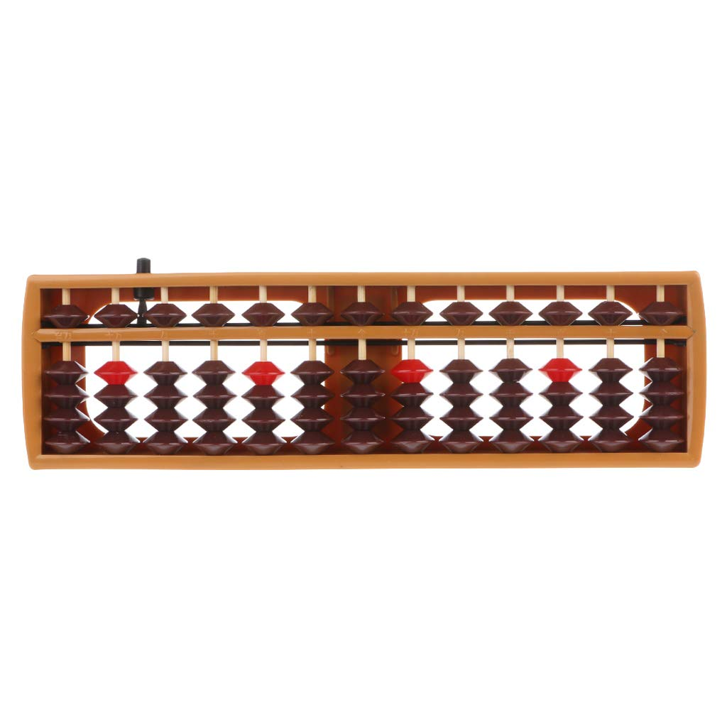 GROOMY Portable Japanese 13 Digits Column Abacus Arithmetic Soroban Caculating School Math Learning Tool - Brown